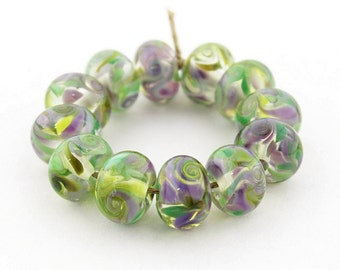 Sheribeads Glass Beads 12 Transparent Butterfly Kisses Spacers Lampwork Purple Green