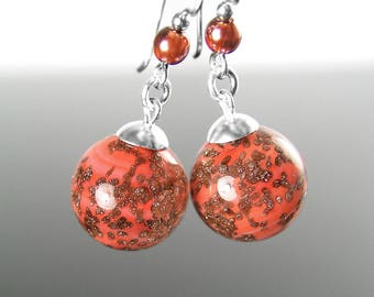 Murano Glass Coral Earrings, Sterling Silver Earrings, Authentic Venetian Glass Earrings, Pink Coral Drop Earrings, Copper Murano Jewelry