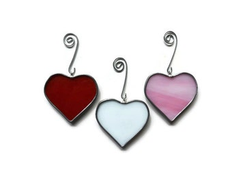 Stained Glass Hearts - Set of 3 in Red, Pink, White Holiday Ornaments