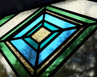 Stained Glass Panel Diamonds in Turquoise, Amber, Teal Window