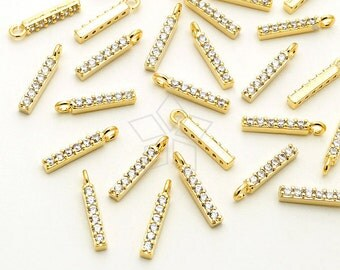 PD-1879-GD / 2 Pcs - Tiny Stick Charms, Small Bar Pendant, Tiny CZ Drop Charms, 16K Gold Plated over Brass / 11mm
