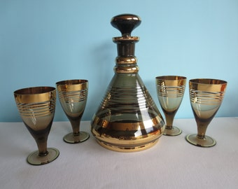 Vintage Gold Banded Smoky Glass Decanter and 4 Stemware Glasses - Wine Glasses