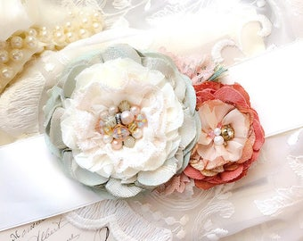 Wedding Sash, Bridal Sash, Coral and Mint Green Wedding Sash, Floral Bridal Belt, Wedding Dress Brooch, Country Garden Wedding Dress Belt