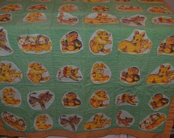 Vintage handmade baby blanket quilt - nursery animal donkey deer bunny monkey bear cat puppy poodle