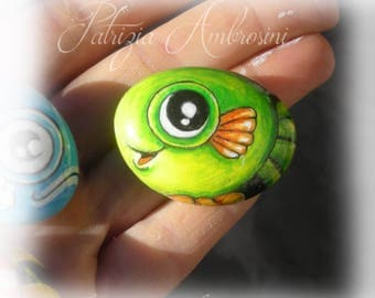 FISH No.1 -  Handpainted, rock painting, painted stone, miniature, painted rock, pebble, fine art