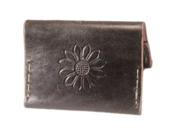 Leather wallet, flower wallet, card holder, leather card holder, simple leather wallet, mens wallet, womens wallet, flower
