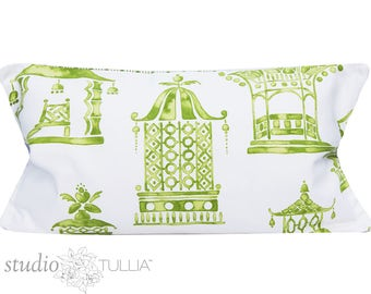 Pagoda Pillow Cover - 14x24 inch - Chinoiserie Pillow - Ming Pagoda - Mineral - palm green - asian toile - ready to ship