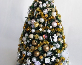 1:12 Decorated Christmas Tree with Holiday Ornaments, Gold Garland & Tree Skirt by Crown Jewel Miniatures