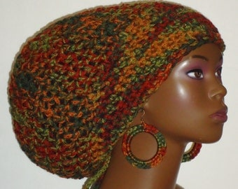 Autumn Boo Chunky Crochet Large Tam with Drawstring and Earrings by Razonda lee Razondalee Locs Dreadlocks