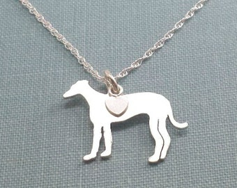 Grey Hound Dog Necklace, Racer Dog Sterling Silver Personalize Pendant, Breed Silhouette Charm Rescue Shelter