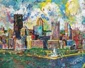 City Skyline, Pittsburgh print, Pittsburgh wall art, man cave art, Three Rivers, The Point, by Johno Prascak
