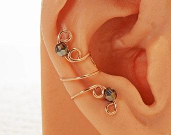 Ear Cuff Rose Gold Filled Swarovski Crystal Silver Night