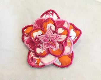 3D Layered Fabric Flower Clip (dark pink/tangerine)