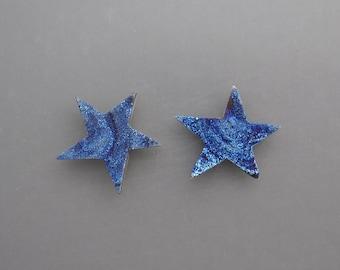 Blue Drusy Star Pair