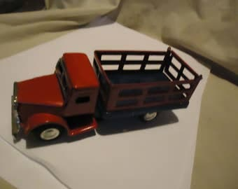 Vintage Made In Japan Friction Metal or Tin Red Livestock Truck, collectable