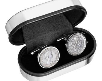 1955 Old English sixpence - England Cufflinks -Handmade Cufflinks 62nd Birhday- Presentation box included - 100% satisfaction