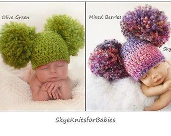 Crochet Double Pom Pom Hat, Newborn Big Pom Pom Hat, Baby Double Pom Pom Hat, Crochet Baby Hat, Newborn Hat, Newborn Photo Prop