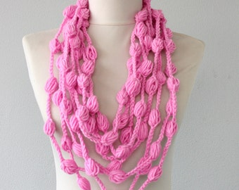 Crochet necklace pink lariat necklace scarf pink pompom necklace chrsitmas gift for her teen girls gift stocking stuffer artist own design