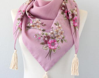 Bohemian tassel scarf vintage rose pink boho scarf gauze cotton spring scarf floral turkish scarf mothers day gift for her summer scarves