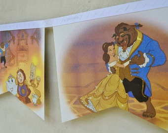 BEAUTY and THE BEAST Banner Vintage Little Golden Book Bunting Disney Princess Party storybook Children Repurposed story book Decoration