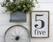 NUMBER SIGN LARGE Flashcard Vintage Shabby Retro Farmhouse Chic Gallery Wall Rustic Vintage Style Wooden