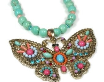 Butterfly Necklace, Turquoise Gemstone Butterfly Necklace, Butterfly Jewelry, Beaded Butterfly, Chunky, Butterflies, Symbolic, Hippie, Bug