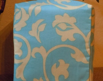 Ready To Ship -   Teal and Ivory  -  Fabric Tissue Box Cover