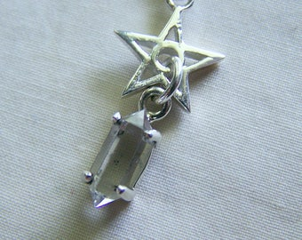 Sterling Silver Star Herkimer Diamond Crystal Pendant
