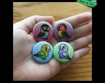 Parrot Pins Set of 4 (Black Masked Lovebird, Fischer's Lovebird, Blue Budgie, Green Budgie)