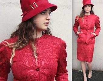 Vintage Victor Costa Skirt Suit // 1980s Ruby Red Paisley Brocade Designer Hourglass Suit Set // DIVINE