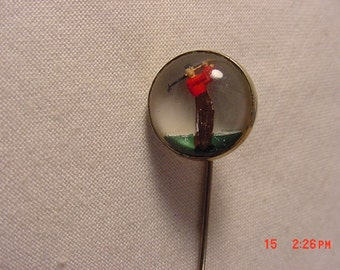 Vintage Bubble Glass Golf Golfer Stick Pin  17 - 161