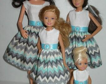 """Handmade 11.5"""" fashion doll and sisters clothes - 4 fashion doll sisters aqua chevron print dresses"""