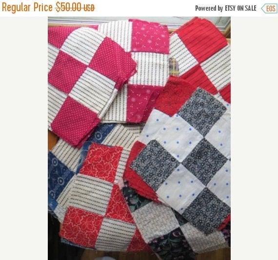 ON SALE Antique Hand stitched Quilt blocks-1880's Fabric-Set of 29 blocks-Civil War