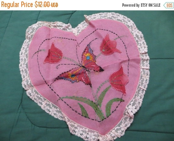 ON SALE Vintage Embroidered Valentine Pillow-Pillow Sam-Pillow cover-Pink