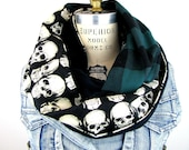 Skull Scarf for Women - Infinity Scarf - Lightweight Scarf - Circle Scarf - Green Plaid Scarf for Men - Ladies Scarf - Large Scarf