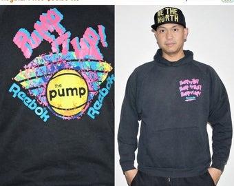 40% Limited time SALE  - Rare Vintage 90s Reebok Basketball Neon Graphic Hoodie Sweatshirt - 1990s Reebok Sweatshirts - 90s Clothing - MV001