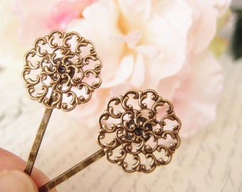 Antique brass floral filigree  bobby pins-medieval-shabby chic-steampunk-Victorian V052
