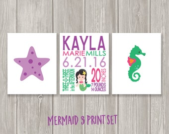 Mermaid Birth Print - Mermaid Nursery - Mermaid Wall Art - Seahorse Nursery - Starfish Wall Art - Baby Girl - Birth Stats - Nursery Wall Art