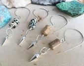 Dalmatian Jasper earrings, picture Jasper and metal spike hook hoop earrings