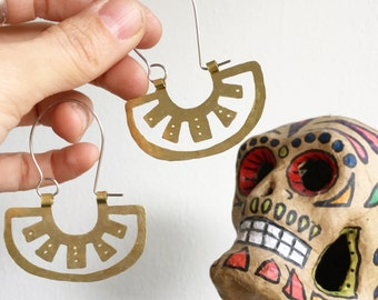 Oaxacan metal slice hoop earrings, tribal metal hoop earrings