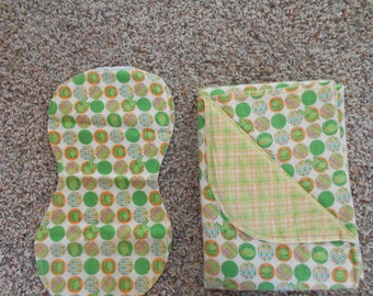 Hem Stitch Baby Boy Green Frog- Flannel Receiving Blanket and Burp Cloth