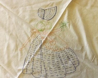 "Vintage Hand Embroidered Childs ""Blankie"""