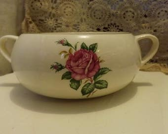Paden City Pottery Casserole Bowl--Old Rose Pattern