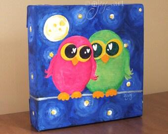 Owl Always Love You, whimsical painting, 6x6 inch romantic acrylic art