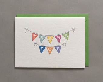 Thank You / Pennant / Flags / Bunting / Thanks / Thank You Note / For Kids / Kids Thank You / Blank Greeting Card