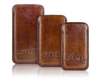 iPhone RETROMODERN aged leather sleeve - - LIGHTBROWN