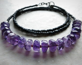 Purple Amethyst Beaded Necklace, dainty everyday Bohemian style February birthstone jewelry in black and purple