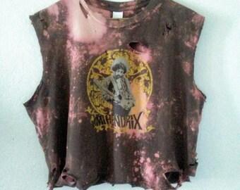 Jimi Hendrix TShirt / Crop Top / Half Tee / Graphic / Distressed / Music Festival / Indie / Grunge / Hippie / Boho / Rocker / Classic Rock