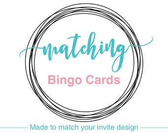 BINGO CARDS, printable or printed, baby shower games, bridal shower activities, wedding party games