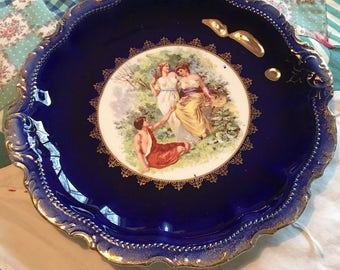 Vintage Decorative Blue Rimmed Romantic Plate Empire China #4137